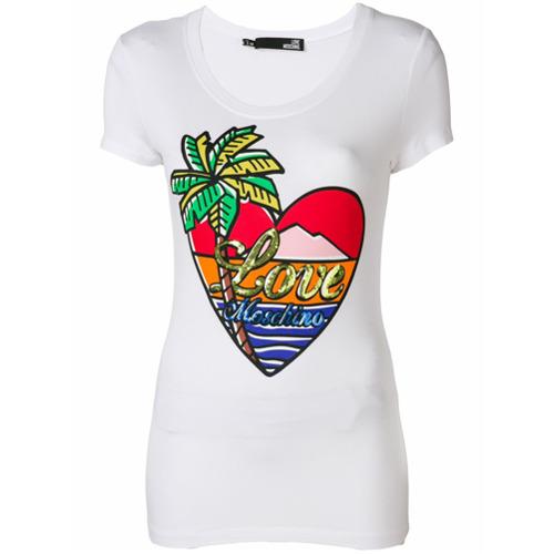 Imagen principal de producto de Love Moschino camiseta con isla paradisiaca - Blanco - Moschino