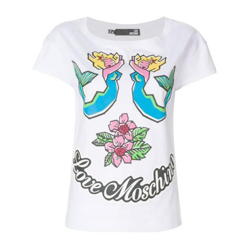 Imagen principal de producto de Love Moschino camiseta con parche con logo - Blanco - Moschino