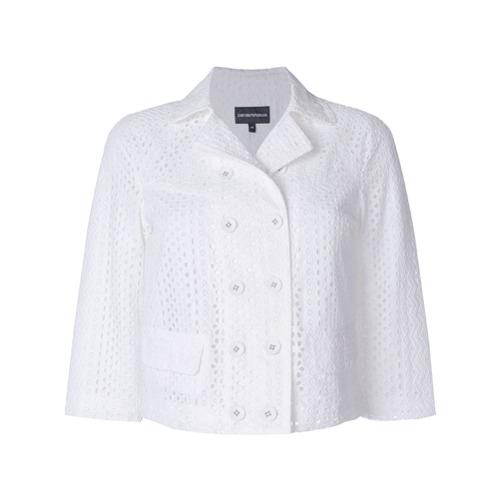 Imagen principal de producto de Emporio Armani chaqueta corta con bordado inglés - Blanco - Emporio Armani