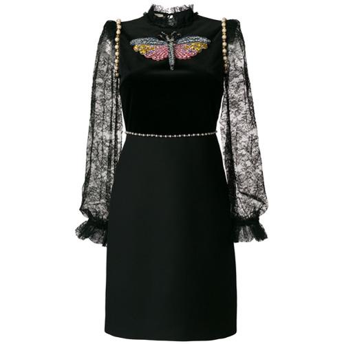 Imagen principal de producto de Gucci vestido con ribete de encaje con apliques - Negro - Gucci