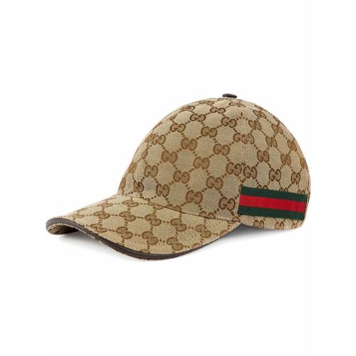 Gucci gorra de béisbol con detalle de tribanda - Nude Y Neutro