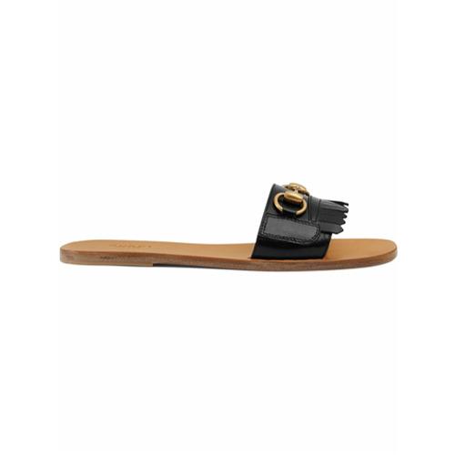 Imagen principal de producto de Gucci chanclas con flecos y Horsebit - Negro - Gucci