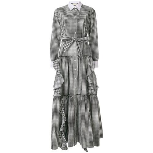 Imagen principal de producto de Sara Battaglia gingham ruffle long shirt dress - Negro - Sara Battaglia