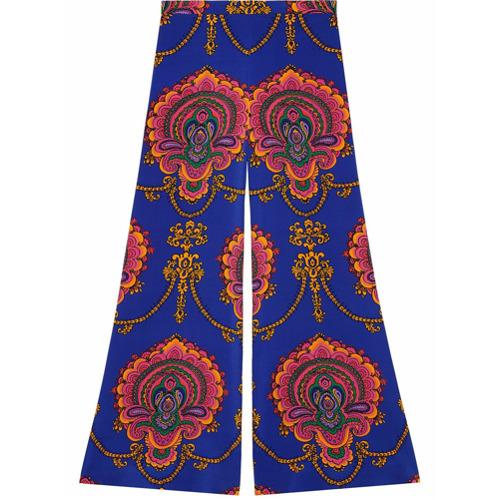 Imagen principal de producto de Gucci pantalones con estampado gráfico de los 70 - Azul - Gucci