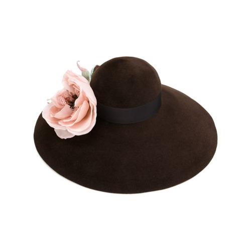 Gucci sombrero de ala ancha Corsage - Marrón