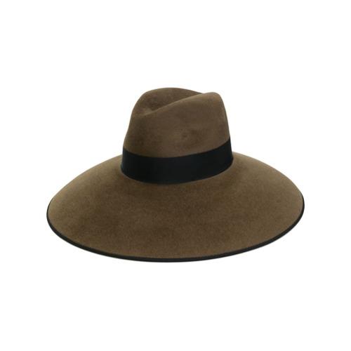 Gucci sombrero con ala ancha - Marrón