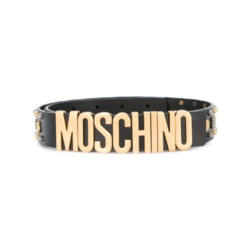 Imagen principal de producto de Moschino cinturón con placa del logo - Negro - Moschino