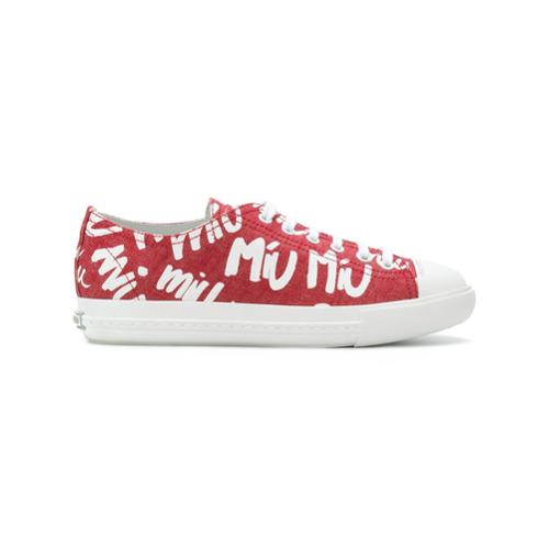 Imagen principal de producto de Miu Miu zapatillas con estampado del logo - Rojo - Miu Miu