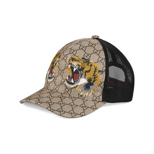 Gucci gorra de béisbol GG Supreme con estampado de tigre - Nude Y Neutro