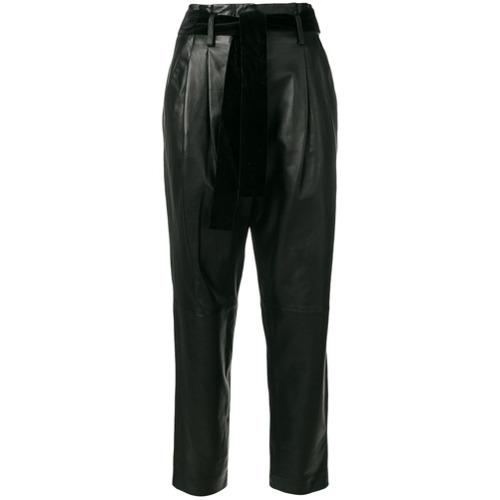 Imagen principal de producto de Michael Michael Kors pantalones de cuero con talle alto - Negro - MICHAEL Michael Kors