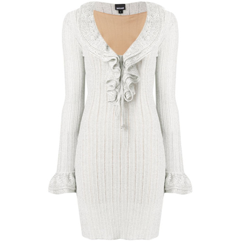 Imagen principal de producto de Just Cavalli vestido con ribetes metalizados - Blanco - Just Cavalli