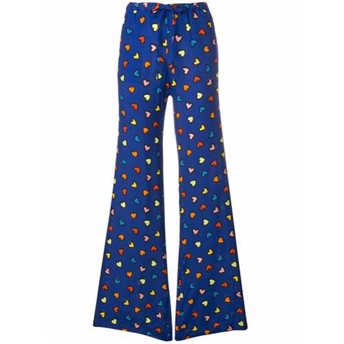 Imagen principal de producto de Love Moschino pantalones acampanados con estampado de corazón - Azul - Moschino
