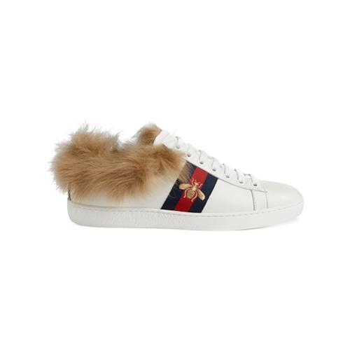 Imagen principal de producto de Gucci zapatillas Ace con detalle de pelo - Blanco - Gucci
