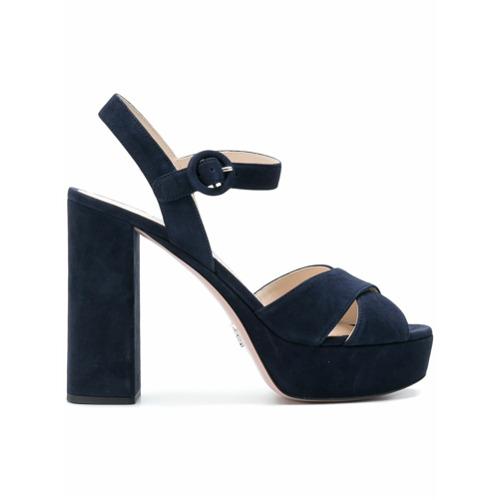 Imagen principal de producto de Prada sandalias con plataforma y tacón cuadrado - Azul - Prada