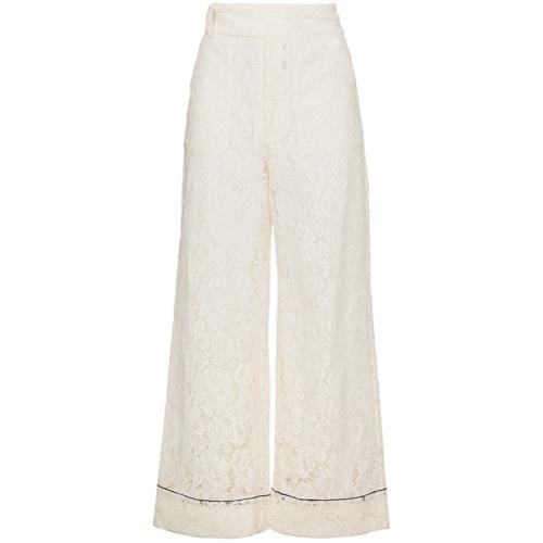 Imagen principal de producto de Ganni pantalones de encaje con corte ancho Jerome - Blanco - Ganni