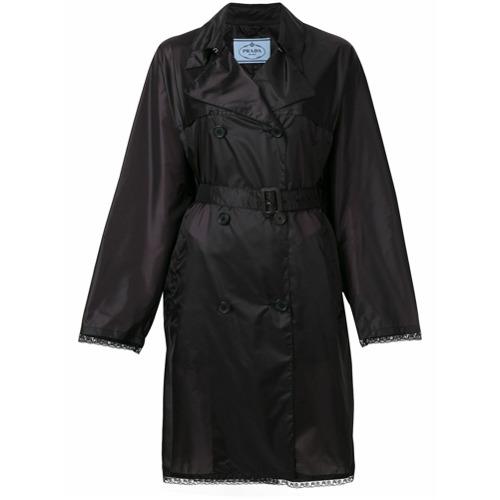 Imagen principal de producto de Prada gabardina con detalles y cinturón - Negro - Prada