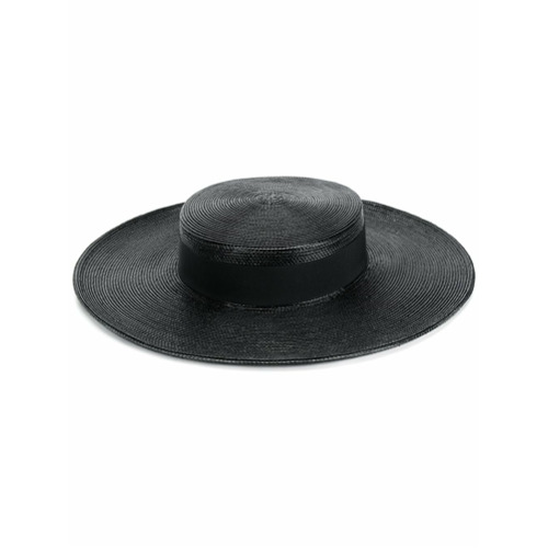 Saint Laurent woven sun hat - Negro
