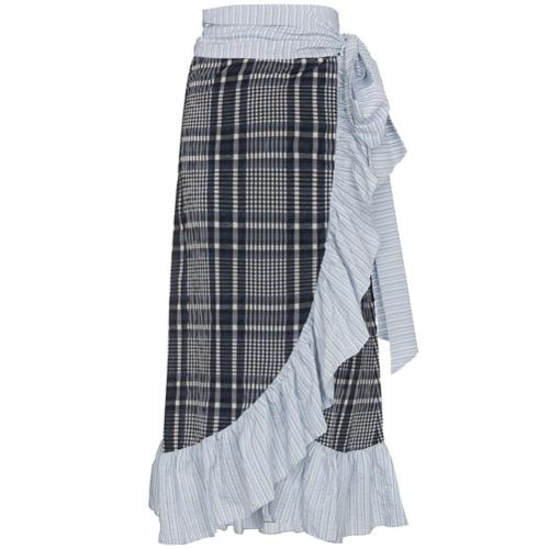 Imagen principal de producto de Ganni falda cruzada a cuadros con volante - Azul - Ganni