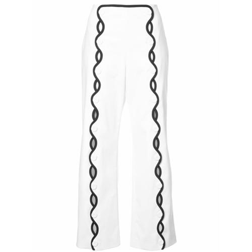 Imagen principal de producto de Sara Battaglia pantalones con ribetes en contraste - Blanco - Sara Battaglia