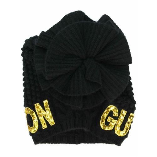 Gucci gorro con bordado con lentejuelas - Negro
