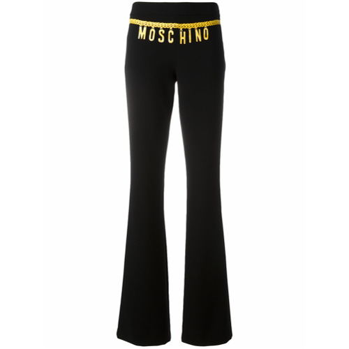 Imagen principal de producto de Moschino pantalones con estampado de logo y cadena - Negro - Moschino