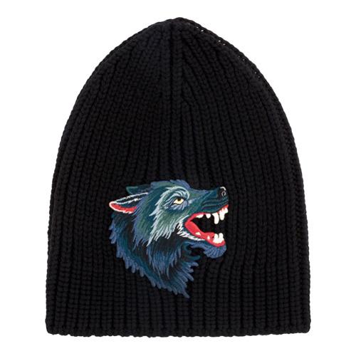 Gucci gorro de punto Wolf - Negro