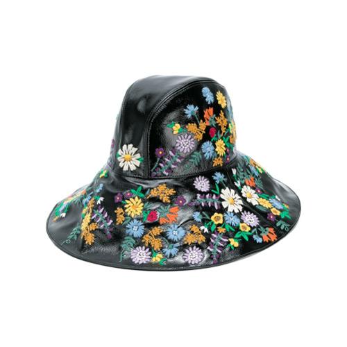 Gucci sombrero de ala ancha con bordado floral - Negro