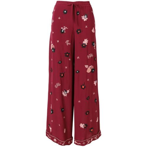 Imagen principal de producto de Valentino pantalones palazzo con bordado floral - Rojo - Valentino