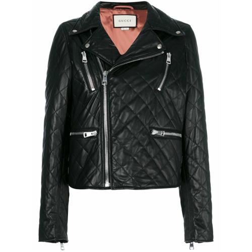 Imagen principal de producto de Gucci chaqueta biker de cuero acolchada - Negro - Gucci