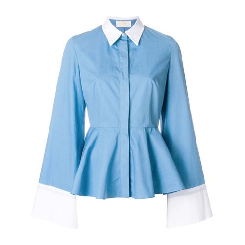 Imagen principal de producto de Sara Battaglia contrast trim peplum shirt - Azul - Sara Battaglia