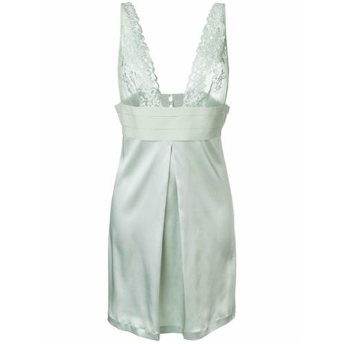 Imagen principal de producto de La Perla vestido estilo camisola con detalles de encaje - Verde - La Perla