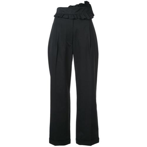 Imagen principal de producto de Carven pantalones capri con volantes en el frente - Negro - Carven