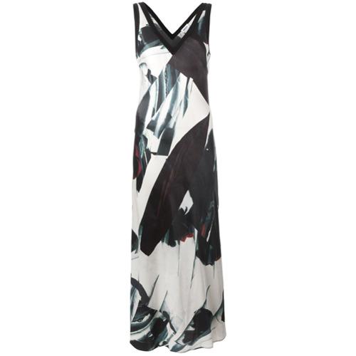 Imagen principal de producto de DKNY vestido en satén estampado largo - Negro - DKNY