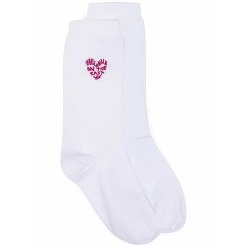 Imagen principal de producto de Ganni calcetines con bordado de corazón - Blanco - Ganni