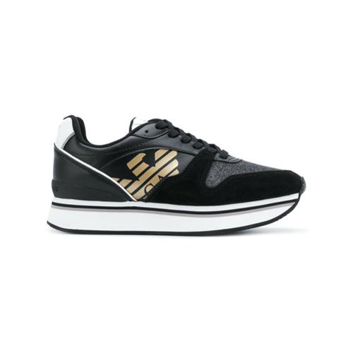 Imagen principal de producto de Emporio Armani zapatillas de plataforma plana - Negro - Emporio Armani