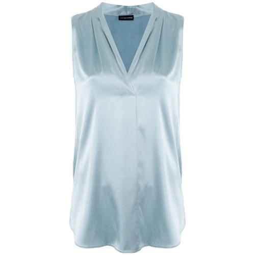 Imagen principal de producto de Emporio Armani blusa con cuello plisado - Azul - Emporio Armani