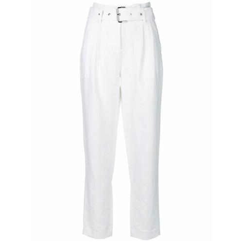 Imagen principal de producto de Michael Michael Kors pantalones con detalle de cinturón - Blanco - MICHAEL Michael Kors