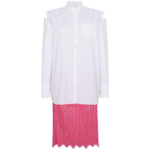 Imagen principal de producto de Valentino vestido camisero con falda de encaje - Blanco - Valentino