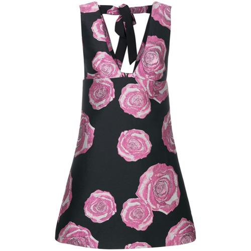 Imagen principal de producto de Ganni vestido de corte en A y motivo floral - Negro - Ganni