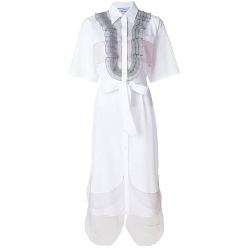 Imagen principal de producto de Prada vestido camisero con volantes - Blanco - Prada