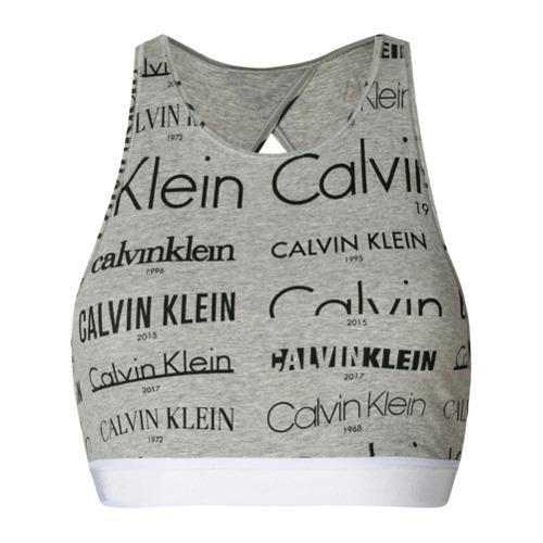 Imagen principal de producto de Calvin Klein sujetador estilo top con logo estampado - Gris - Calvin Klein