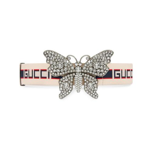 Imagen principal de producto de Gucci cinturón a rayas con mariposa Gucci - Blanco - Gucci