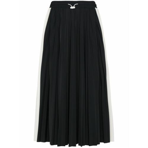 Imagen principal de producto de Valentino falda midi con pliegues y detalles de encaje - Negro - Valentino