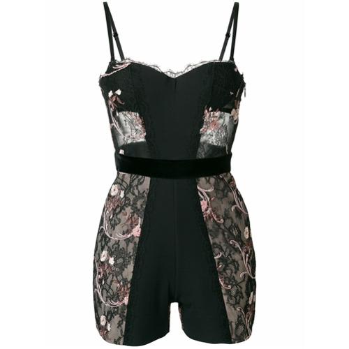 Imagen principal de producto de La Perla body con encaje y diseño floral - Negro - La Perla