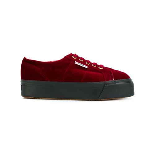 Imagen principal de producto de Superga zapatillas de terciopelo con plataforma - Rojo - Superga