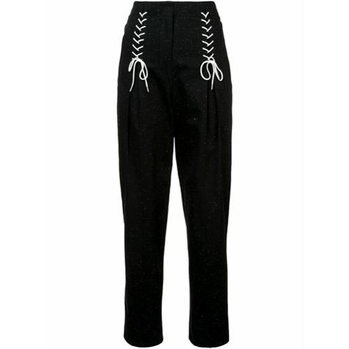 Imagen principal de producto de Tibi pantalones de tweed con detalle de cordones - Negro - Tibi
