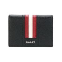 Bally Porta-Cartões De Couro Com Listras - Preto