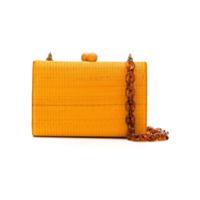 Serpui Clutch De Palha - Amarelo E Laranja