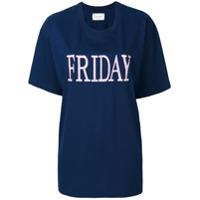 Alberta Ferretti Camiseta Com Bordado 'friday' - Azul