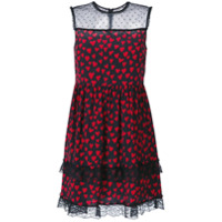 Red Valentino Vestido Com Recortes Translúcidos - Preto